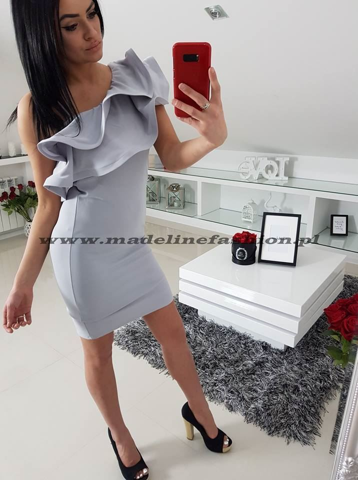 products 0002711 sukienka falbana slim jasno szara 1