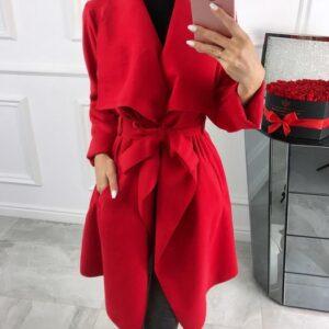 płaszcz plus size czerwony