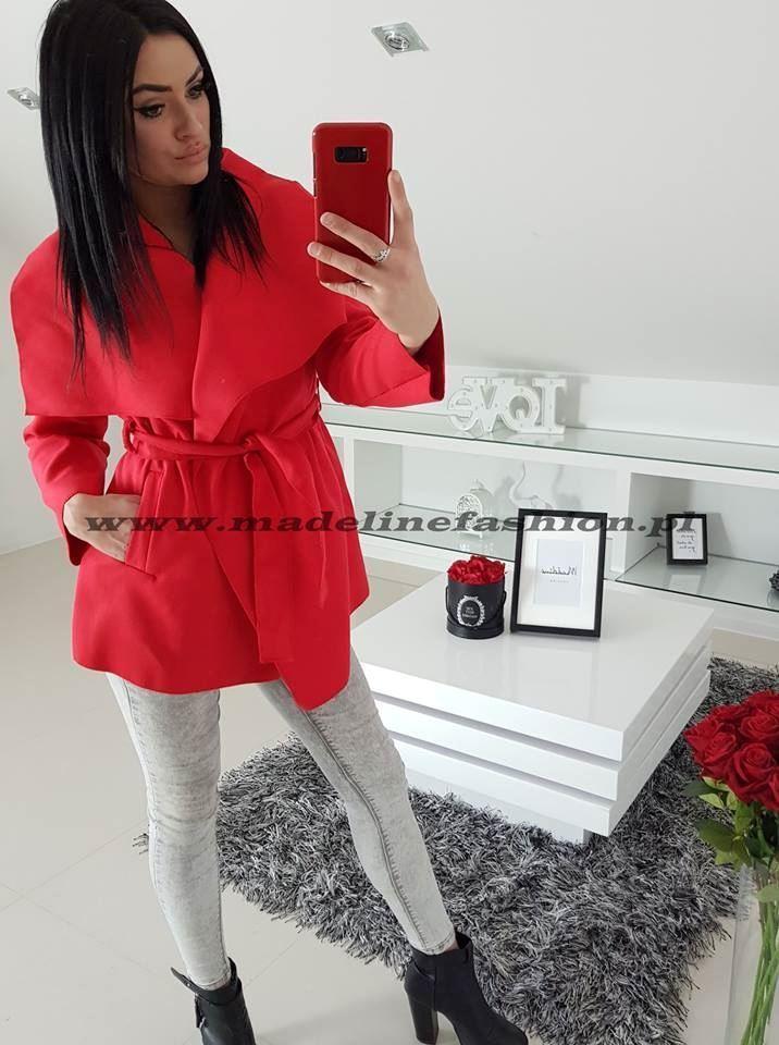 products 0002652 plaszcz czerwony krotki z flauszu 1