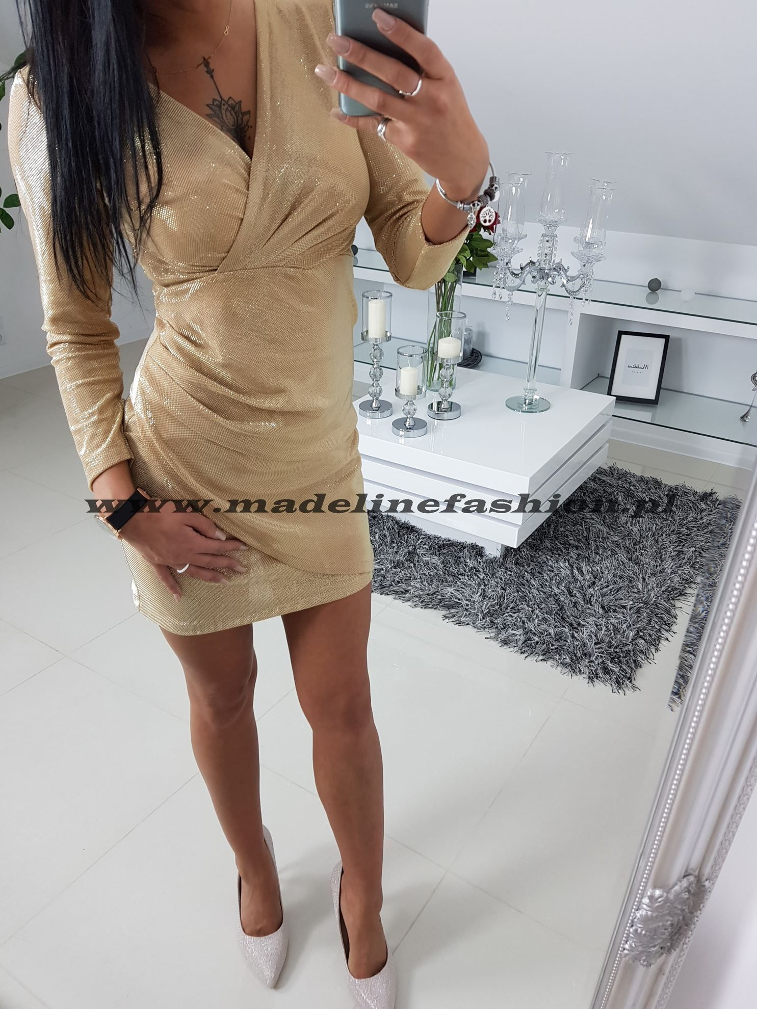 products 0003264 sukienka cekinowa zlota davis 1
