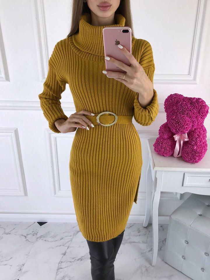 products 0003447 sukienka sweterkowa z golfem denver musztardowa 1