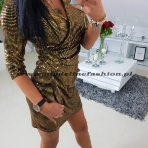 Sukienka Cekinowa Złota Savilla