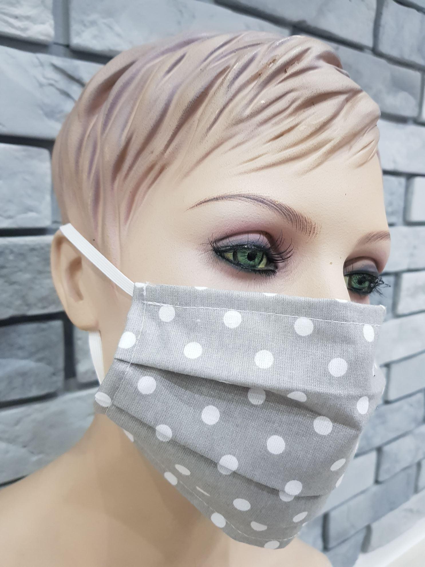 products 0003469 maseczka na twarz dwie warstwy bawelna szara w biale kropki 1