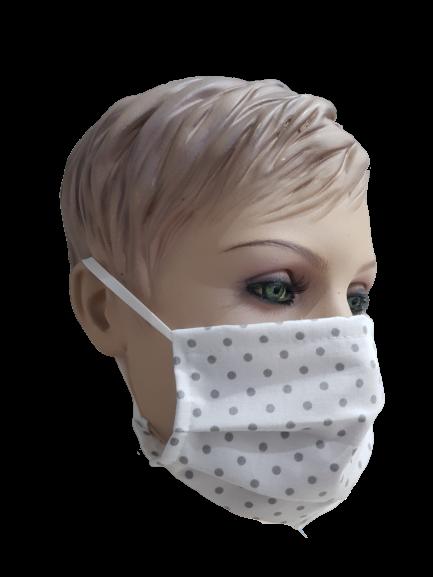 products 0003476 maseczka na twarz dwie warstwy bawelna biala w szare kropki 1