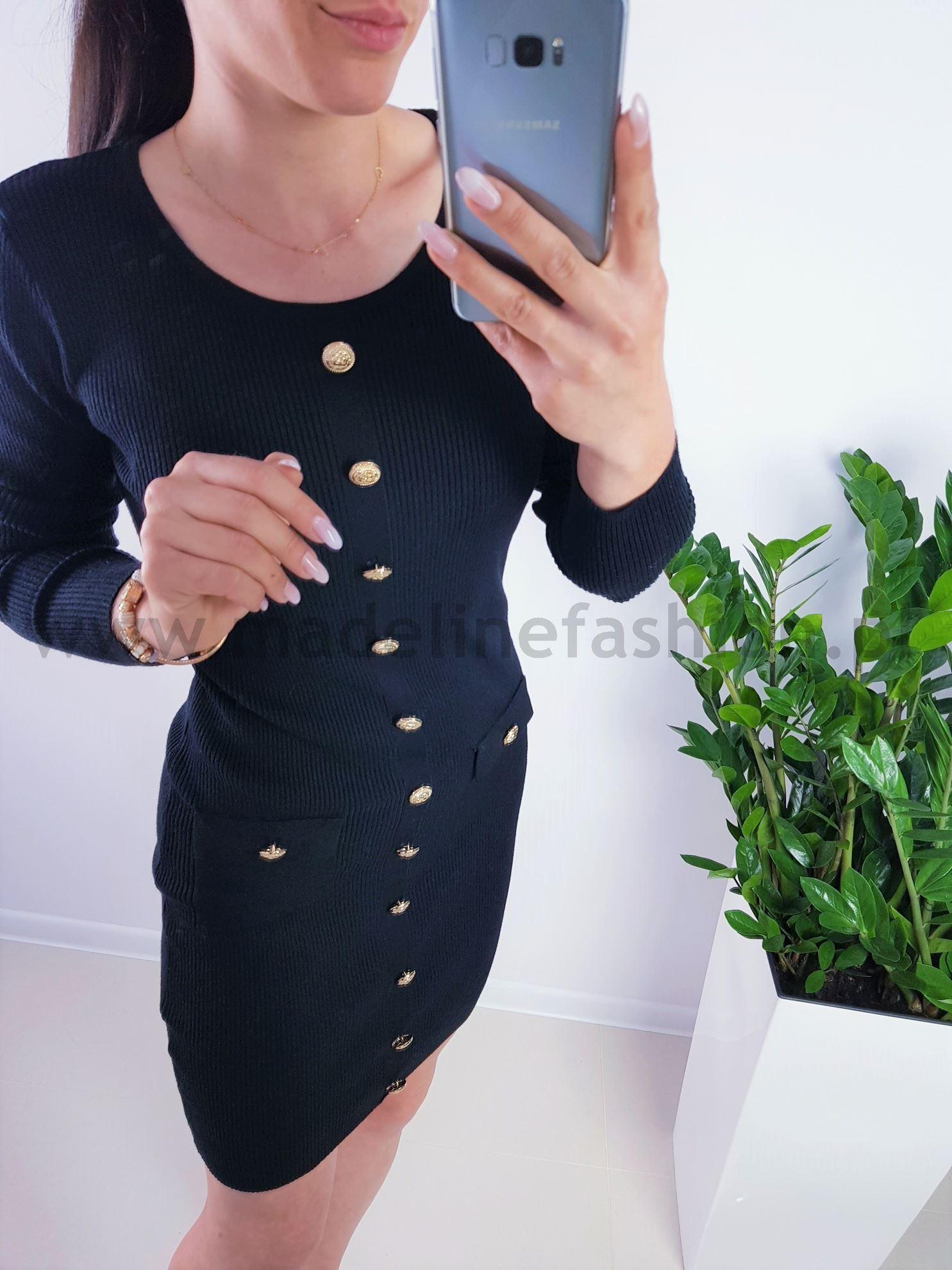 products 0003883 sukienka meri slim guziki czarna 1