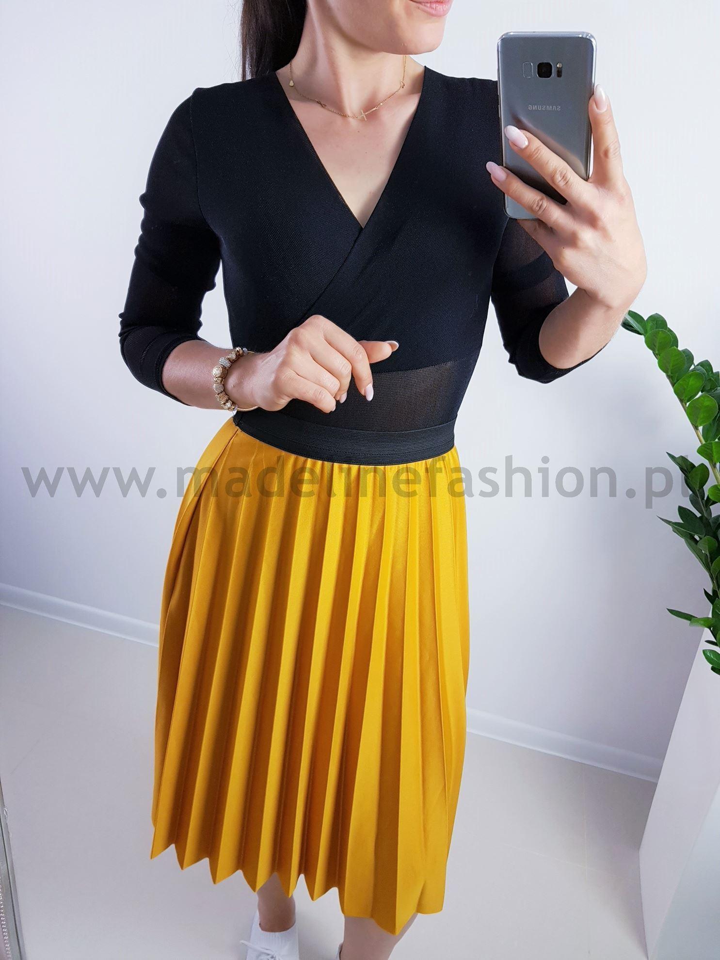 products 0003905 spodnica plisowana midi musztardowa 1