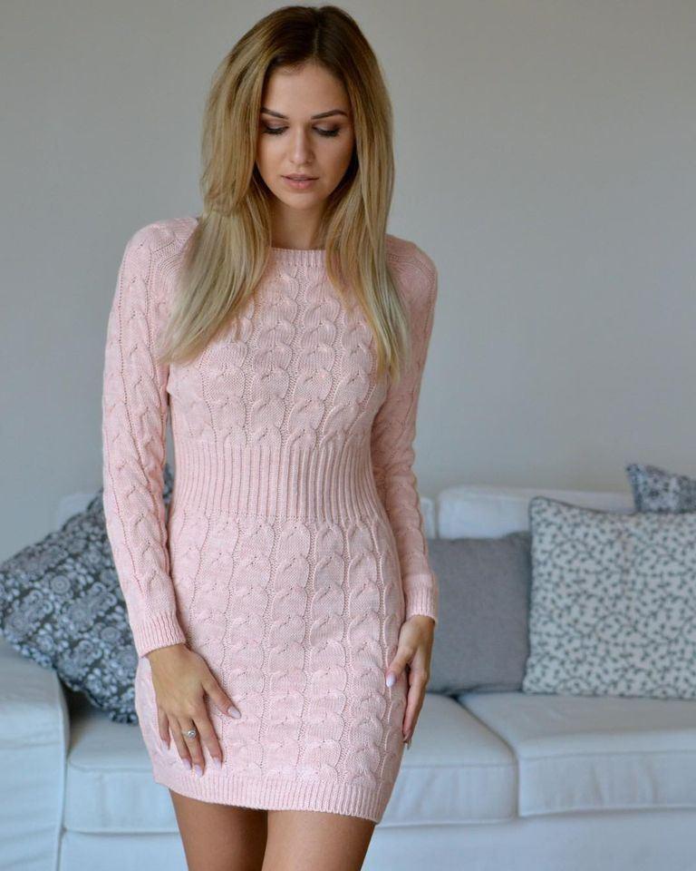 products 0004030 sukienka sweterkowa tunika jodelka pudrowy roz 1