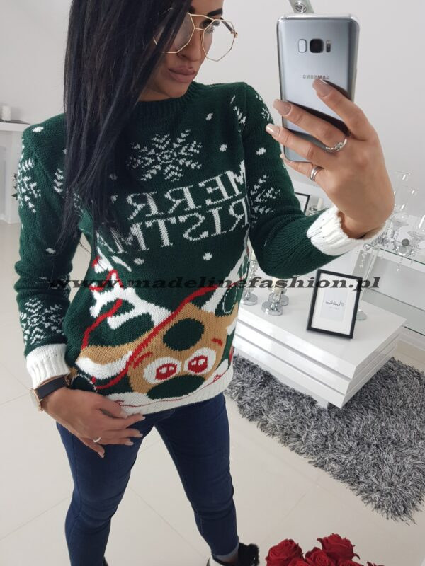 Sweter Świąteczny Merry Christmas Zielony
