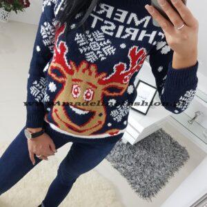 Sweter Świąteczny Merry Christmas Granatowy