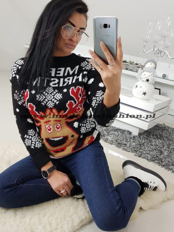 Sweter Świąteczny Merry Christmas Czarny