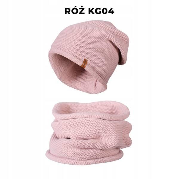 Komplet Zimowy Czapka + Komin Tuba Pudrowy Róż KG04