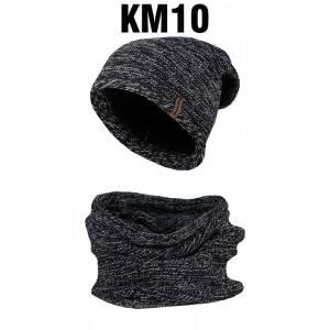 Komplet Zimowy Czapka + Komin Tuba Czarny Melanż KM10
