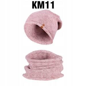 Komplet Zimowy Czapka + Komin Tuba Pudrowy Melanż KM11