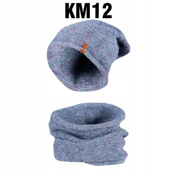 Komplet Zimowy Czapka + Komin Tuba turkusKM11