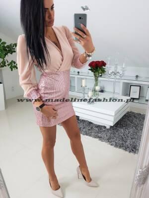 Sukienka Cekinowa Mindy Pudrowy Róż