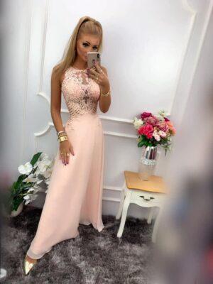 Sukienka BENTLEY DŁUGA Pudrowy Róż