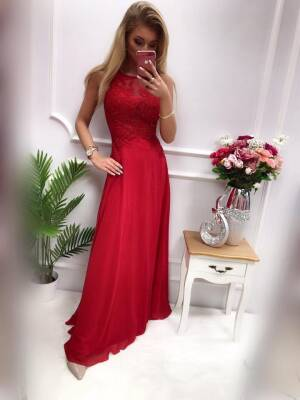 Sukienka BENTLEY DŁUGA Bordowa