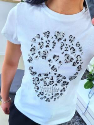 T-shirt Czaszka Serca Biało Srebrny